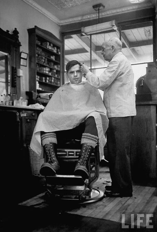 Elderly Barber Cutting Young Man S Hairby Yale Joel In