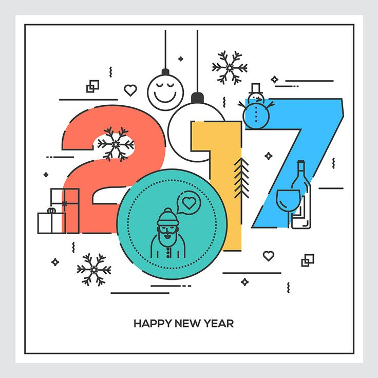 Flat Thin Color Line Concept of Happy New Year 2017, trendy and minimalistic card or background. Modern Thin Contour Line Design