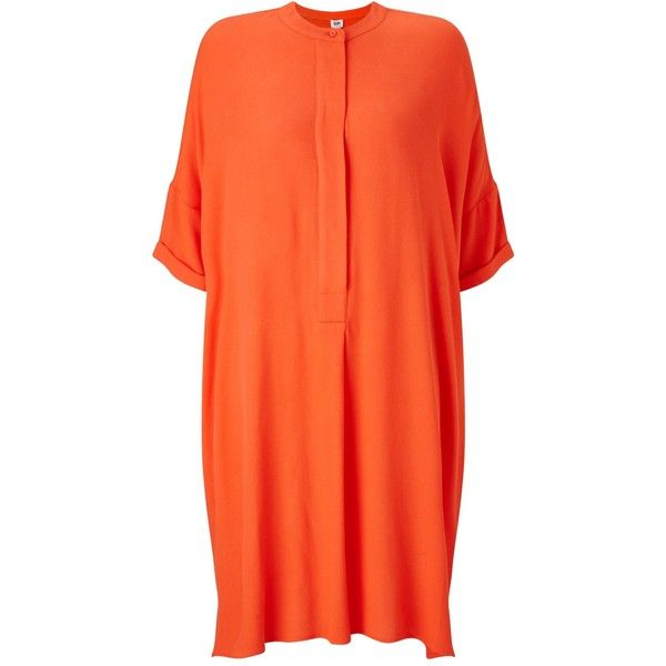 Kin by John Lewis Oversize Shirt Dress, Coral ($91) ❤ liked on Polyvore featuring dresses, short sleeve dress, maxi dresses, shirt dress, midi dress and orange dress