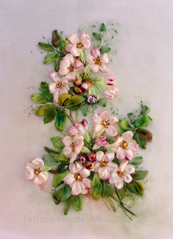 picture Flowers composition Silk ribbon by SilkRibbonembroidery, €50.00