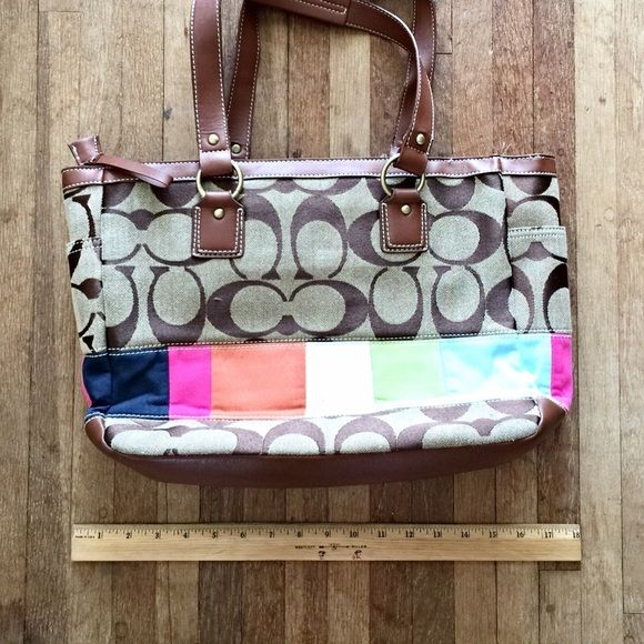 COACH Tote Bag COACH Tote Bag (Authentic) and cute COACH (unknown authenticity) tiny wristlet Normal wear, remains in great condition CleanRoomy!I believe it's meant to be a Diaper bag but I use it for my everyday bag Coach Bags Totes