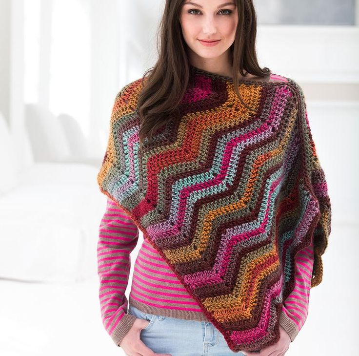Sunset Poncho Crochet Kit featuring Lion Brand Landscapes Yarn   Craftsy   Craftsy