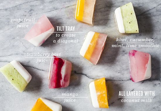 Oh Joy | Fruity Summer Striped Ice Cubes  Frozen juice in a flash!!