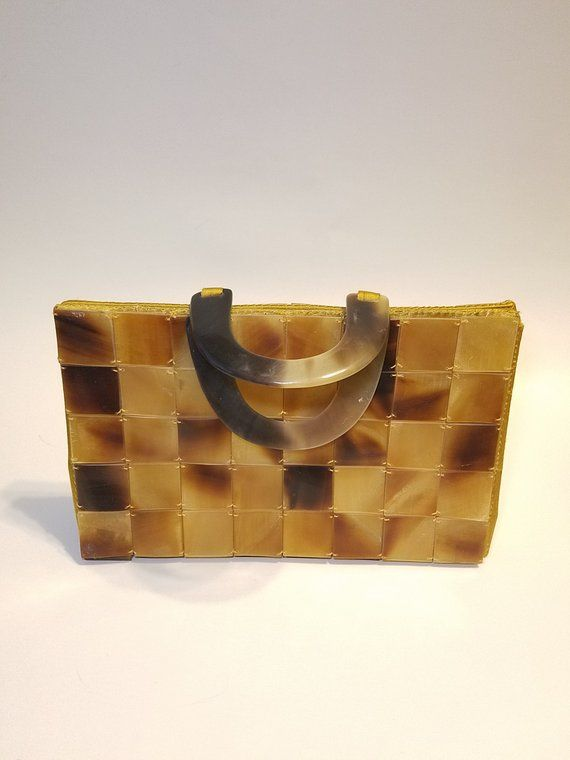 Vintage Gold Satin And Tortoise Shell Handbags Bag Handbag Made In Vietnam Woman S Gift For Her