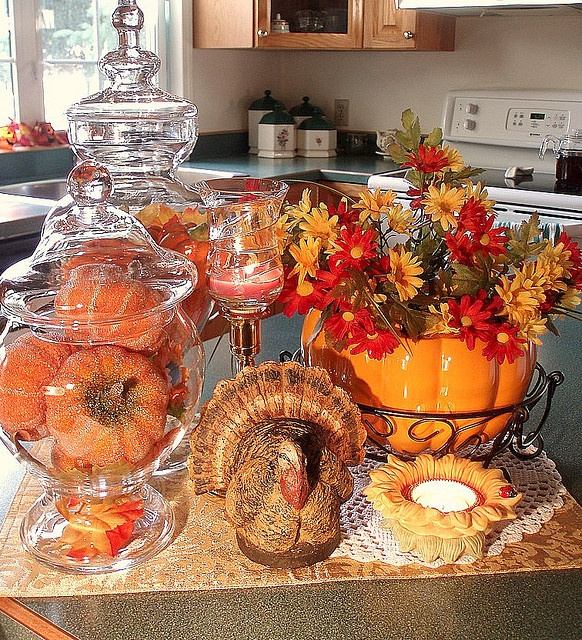 exceptional Pumpkin Kitchen Decor #7: 37 Awesome Fall Kitchen Décor Ideas : 37 Awesome Fall Kitchen Décor Ideas  With White Kitchen Wall Window Wooden Cabinet Sink Oven Stove Chair Pumpkin  Decor