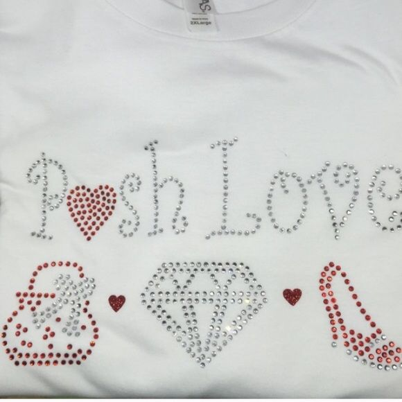 Posh Love Bling Tee in 2X crew neck loose fit Posh Love Tee in 2X fits 18W  Bling it out and  show your Posh pride! This adorable T-shirt as adorable lips on the sleeve and a glitter red ❤️heart on the lower back side Posh Bling Tops