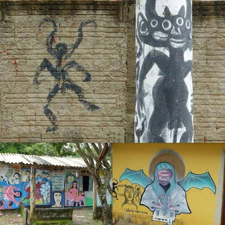 """Vagabond Journals """"Strange wall art in Sao Jorge, Brazil. Makes you wonder what happens here... See more in our…"""""""