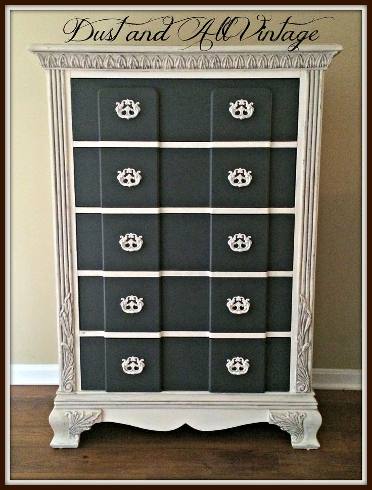 Custom Order Dresser by Dust and All Vintage in Annie Sloan Old White and General Finishes Queenstown Gray Chalk Paint