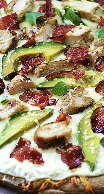 Chicken Alfredo Bacon and Avocado Pizza