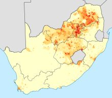 Languages of South Africa - Density of first-language speakers of Sotho–Tswana languages.