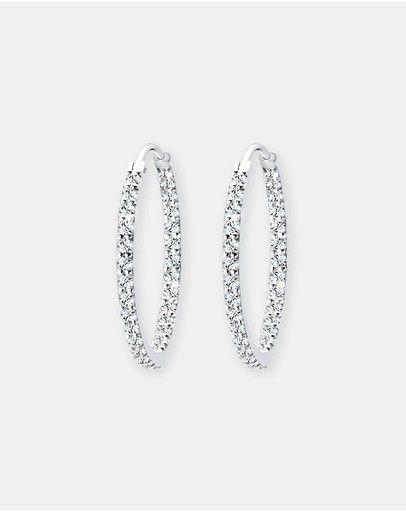 Elli Jewelry -  Earring 925 Sterling Silver Glamor Hoop Swarovski Crystals