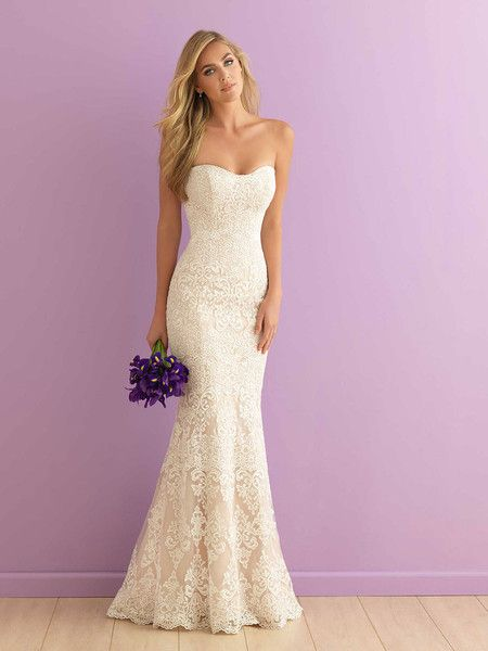 Strapless, curve-emphasizing fitted lace wedding dress by Allure Romance by @allurebridals