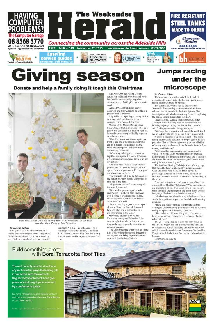 Latest edition now online. Like us on Facebook at 'The Weekender Herald' and read more online at http://adelaidehills.realviewtechnologies.com/