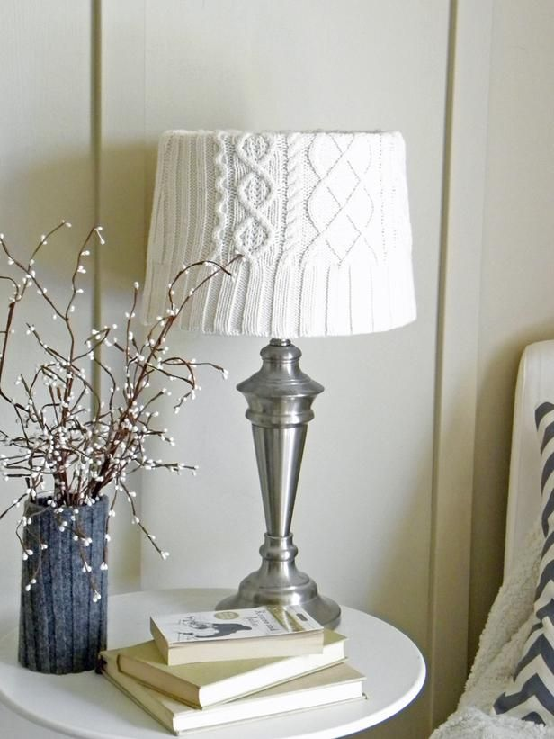 16 Ways to Decorate with Old Sweaters (HGTV) You can easily transform your home's decor from fall to winter by incorporating sweater elements. Alicia brought a wintry feel to her living room by covering a vase and lampshade with sweater material. The look instantly warms up the space during colder months.
