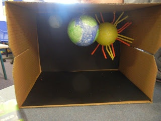 Students were asked to make a model of their understanding of how the Earth, moon and sun move in relation to each other. These are some initial stages of their models. At the end of the unit, we will see if their understanding changes!