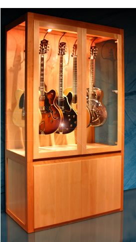 guitar display case cabinet