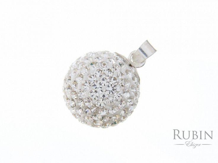 Swarovski kristályos  fehér gömb ezüst medál