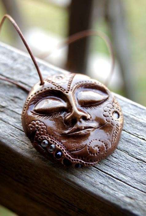 Moon Goddess Gorgeous Polymer Clay Face Pendant by TRaewyn on Etsy