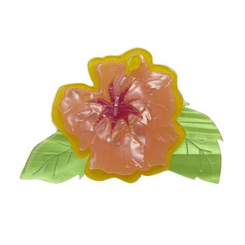 "Erstwilder Limited Edition Alohabiscus Brooch. ""A little tip ladies: if you're single, wear it on the right. If you're spoken for, wear it on the left. Keep it simple for the fellas."""