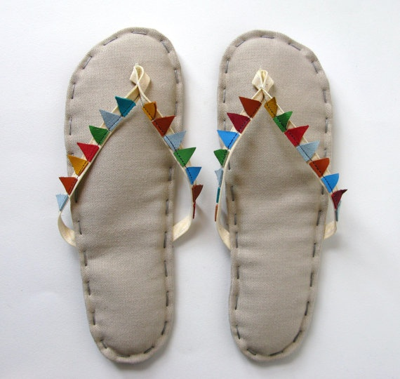 $50.00 Bunting Banner Flags Fabric Flip Flop Sandals, Home Slippers Oatmeal Cotton with Cream Straps and Recycled Leather Flags