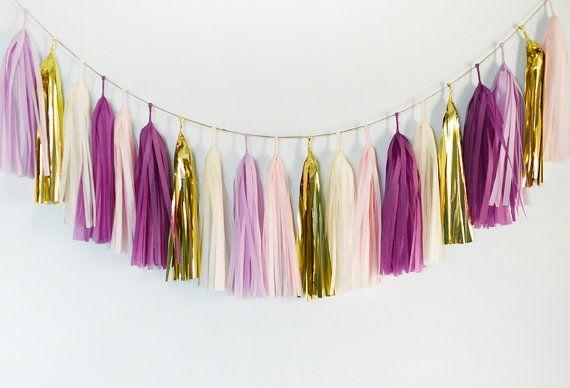 Plum Love Tissue Tassel Garland Purple Lilac Blush Gold by GenWoo