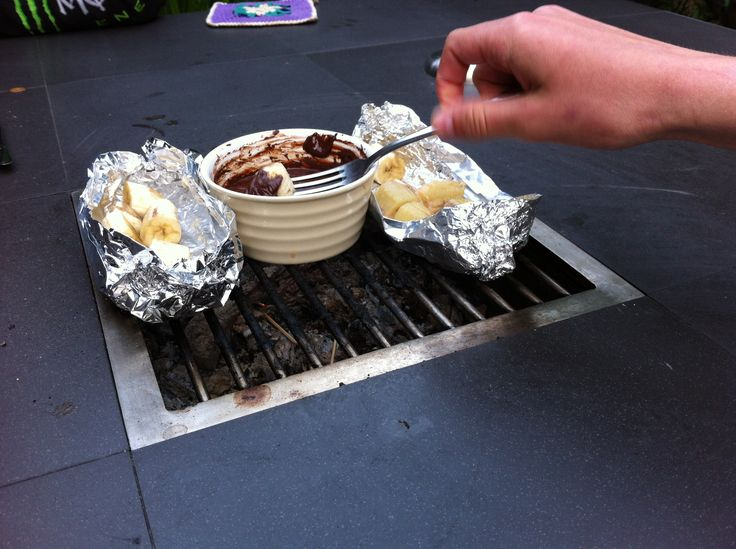Desert! Melted chocolate with banana...
