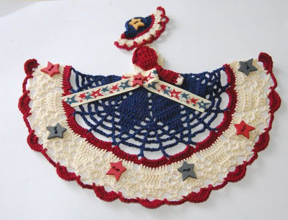 Colonial / Americana Crinoline Lady Doily / Hand by designedbyl