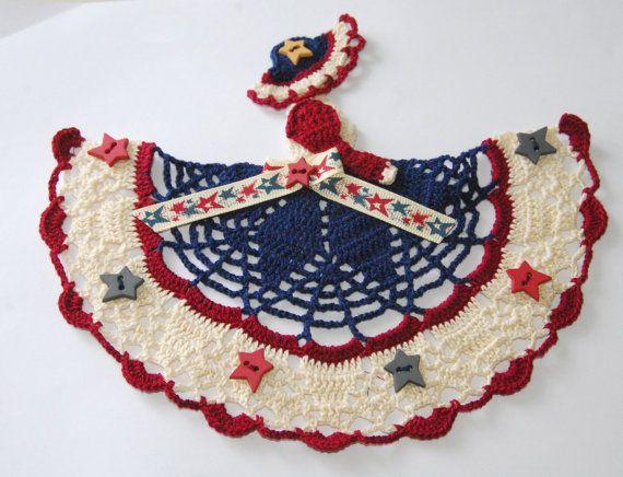 Colonial / Americana Crinoline Lady Doily / Hand by designedbyl