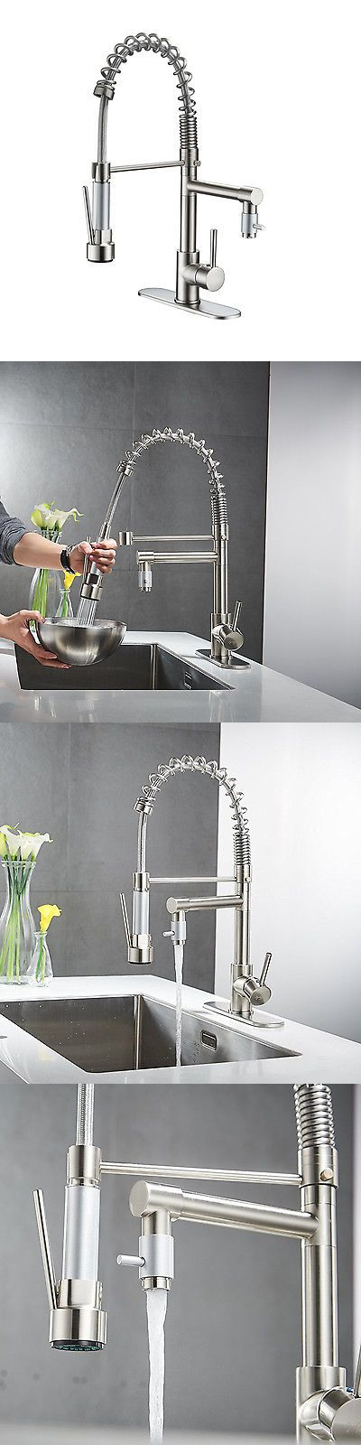 Faucets 42024: Brushed Nickel Kitchen Faucet Swivel Spout Single Handle With 10 Cover Plate Tap -> BUY IT NOW ONLY: $52.99 on eBay!