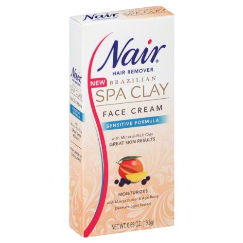 Nair Brazilian Spa Clay Sensitive Formula Face Cream Hair Remover 069 oz *** See this great product.