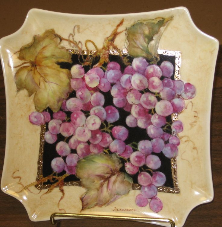 grapes & 254 best Porcelain Art Grapes images on Pinterest | China painting ...