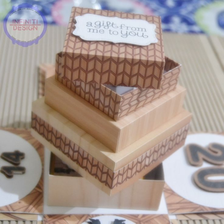 "10x10x10cm birthday exploding box using DCWV ""The Good Wood stacks"" for miss Dini :)"