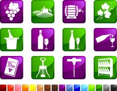 Vineyard and wine royalty free icons vector art illustration