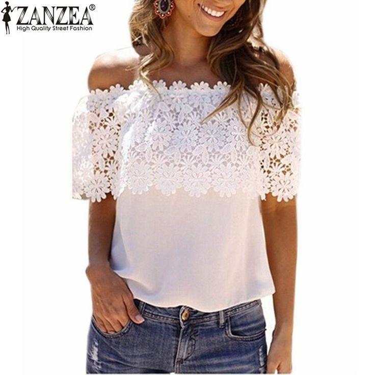 ZANZEA 2016 Summer Women Sexy Chiffon Lace Patchwork Blusas Tops Ladies Casual Off Shoulder Short Sleeve Blouse Shirts Plus Size