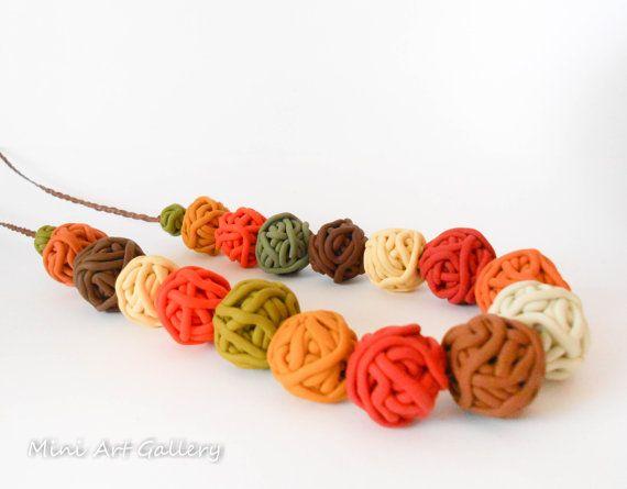Yarn ball necklace / Minimalistic necklace / polymer clay ooak handmade beads / autumn fall colors / macrame braiding / adjustable length. © 2015 Mini Art Gallery