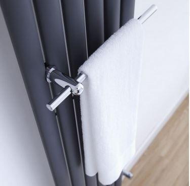 Chrome towel rail for the Aruba radiator by Milano.