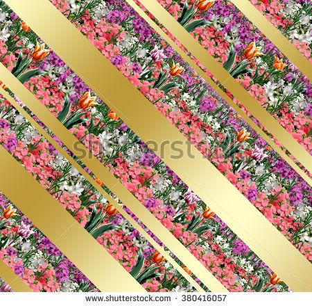 Spring flowers abstract background with gold diagonal stripes. Digital Illustration. Spring Holiday floral pattern with spring flowers. For Art, web, print,