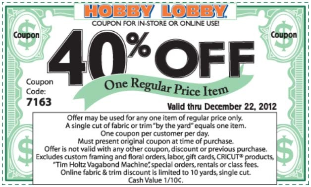 2014 Hobby Lobby Coupon 40% Off