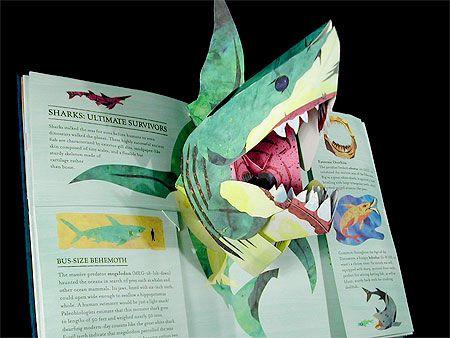 Engenharia de papel - Paper Engineering - Ingeniería de papel: Molde do cartão pop-up de tubarão!