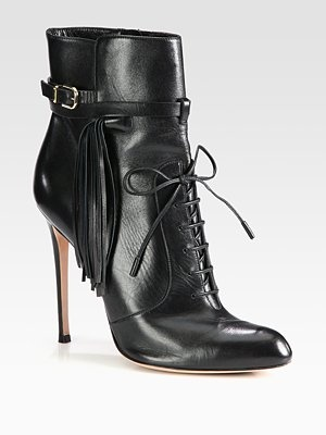 Altuzarra Leather Fringe Lace-Up Ankle Boots