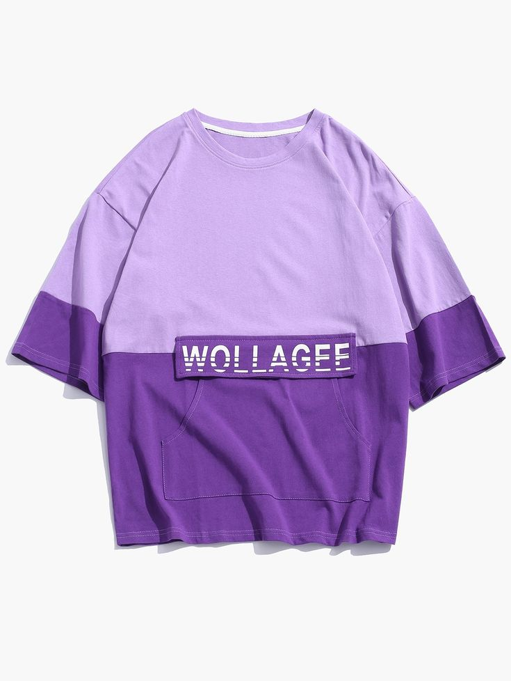 Letter print color spliced casual tshirt purple sage bush
