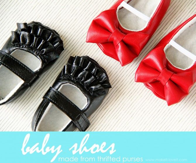 Make these Baby Shoes From Old Purses: oh a better way to use those old purses. www.makeit-loveit.com