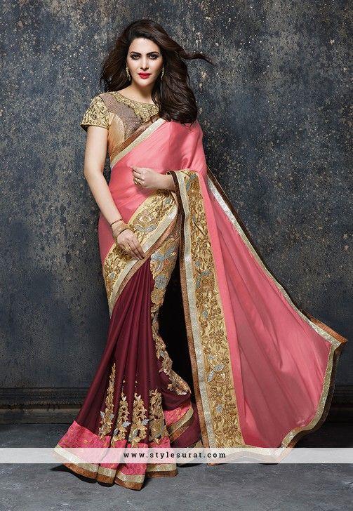 Fabulous Pink And Maroon Satin Fabric Designer Saree