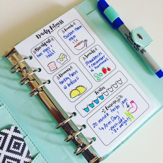 Fitness and Meal Planning - PLANNER INSERT - Planner insert for small, Medium/Personal and Large Planners Filofax or personal Kikki K