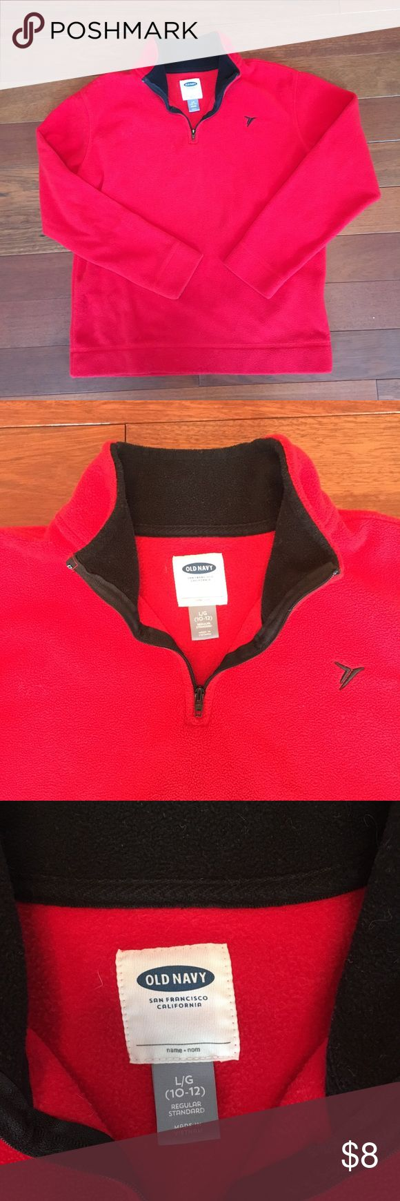 Kids Red Old Navy fleece pull over! Only worn a few times! Red Old Navy fleece! Great condition! L 10-12 Old Navy Shirts & Tops Sweatshirts & Hoodies