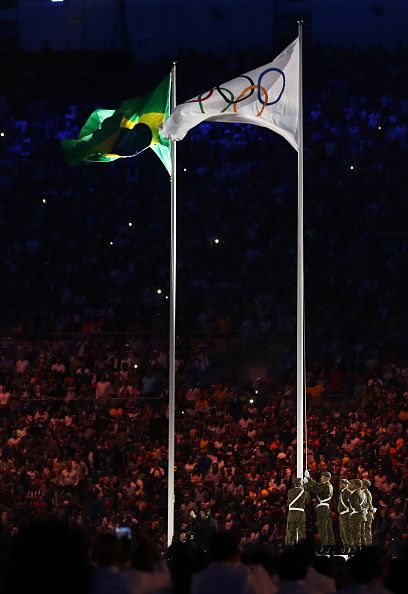 #RIO2016 The Olympic flag is hoisted during the Opening Ceremony of the Rio 2016 Olympic Games at Maracana Stadium on August 5 2016 in Rio de Janeiro Brazil