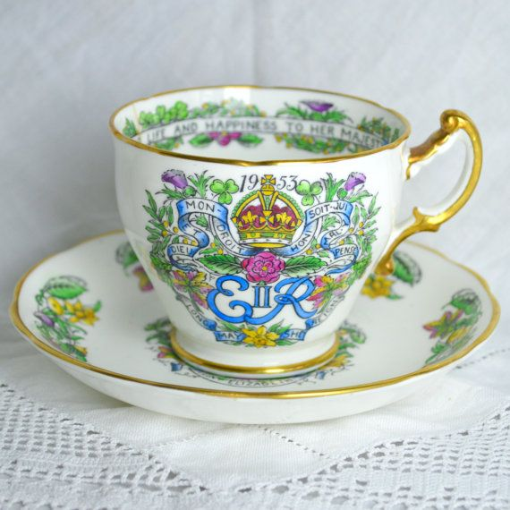 A Royal Tea Party - Queen Elizabeth 2nd Coronation 1953 Tea Cup and Saucer - Hammersley Bone China England