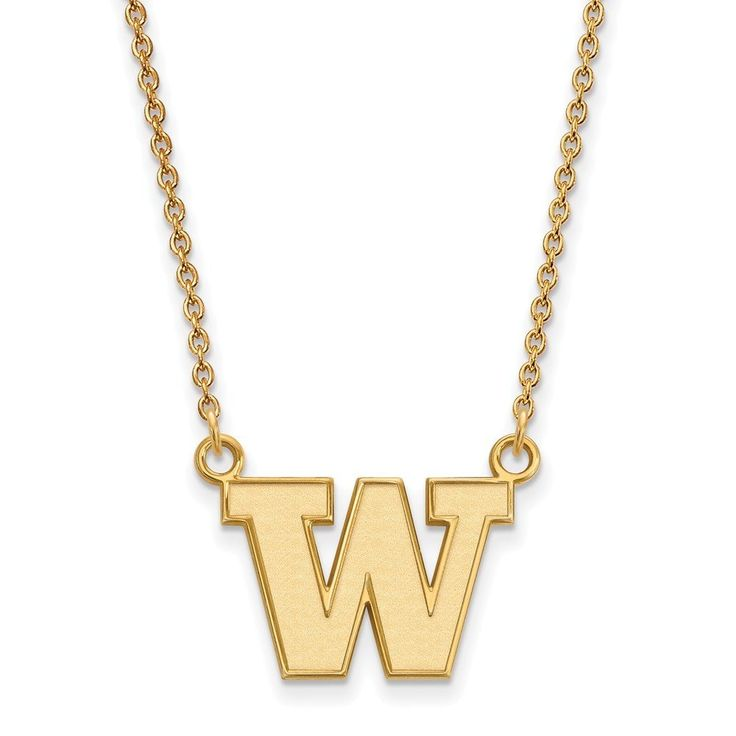 Roy Rose Jewelry Gold over Sterling University of Washington Small Pendant 18 inch Necklace. Officially Licensed - Finest Quality from Roy Rose Jewelry. Roy Rose Jewelry - Selling Online Since 1999. 30 Day Return - 100% Satisfaction Guaranteed. Manufactured in United States - production time 7 to 9 days. Free Jewelry Box Included.