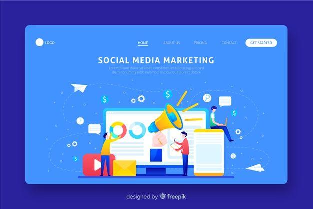Download Flat Marketing Landing Page Template For Free Page Template Marketing Vector Free