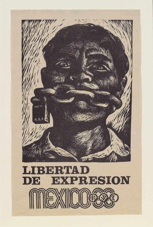 Poster de las olimpiadas del 68 Impresionante que éste poster fue creado en 1968… y todavía tiene relevancia con lo que está pasando en el país. El nuevo mexicano tiene que crear nuevas formas de expresión, nuevas formas de hacer justicia. Mexican Olympics poster from 1968